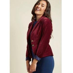 ModCloth Velvet Executive Blazer in Red